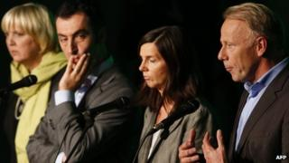 Green leaders (left to right) Claudia Roth, Cem Oezdemir, Katrin Goering-Eckardt and Juergen Trittin, 23 Sep 13
