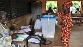 A woman voting in Mali, August 2013