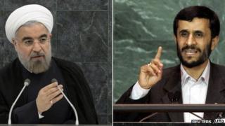 Hassan Rouhani, left, and Mahmoud Ahmadinejad
