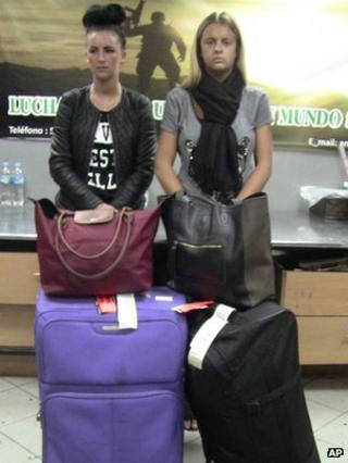 Michaella McCollum and Melissa Reid at Lima airport after their arrests in August