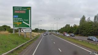 The westbound carriageway near to the Toyota roundabout