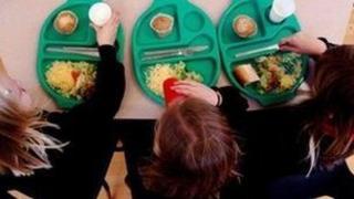 Pupils having school meal