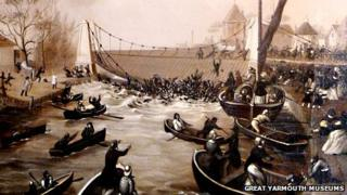 Painting of the Great Yarmouth suspension bridge disaster by CJW Winter 1845