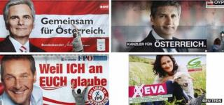 Posters for four of the main parties in Austria's 2013 parliamentary election, showing - clockwise from top left - Social Democrat Chancellor Werner Faymann, Deputy Chancellor and People's Party leader Michael Spindelegger, Green Party leader Eva Glawischnig and Freedom Pary leader Heinz-Christian Strache.