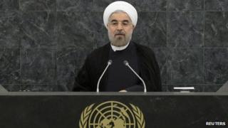 Iranian President Hassan Rouhani speaks at the United Nations in New York
