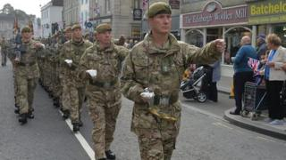 The 1st Battalion the Yorkshire Regiment march through Warminster, Wiltshire