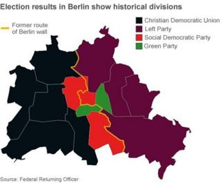 Map of Berlin voting patterns