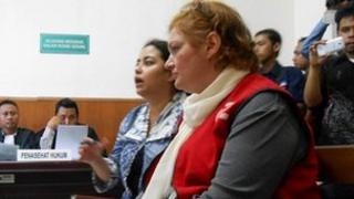 Andrea Waldeck in court in Surabaya