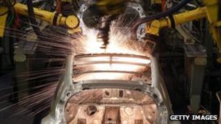 A car being built