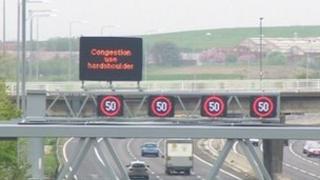 Signs on M62 motorway