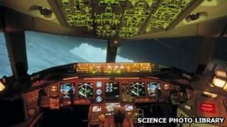 Inside a Boeing 777 aircraft simulator