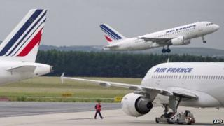 Air France planes at Paris's Charles de Gaulle airport (June 2012)