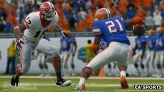 Screenshot from NCAA Football 14 game
