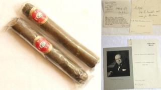 Churchill's cigars and notes to Ms Clifton