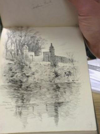 A sketch in the book