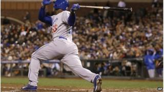 Cuban Los Angeles Dodgers baseballer Yasiel Puig