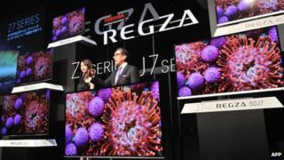 Toshiba TVs on display