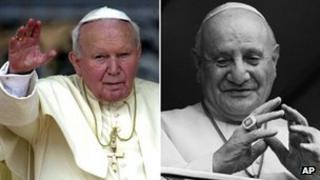 Pope John Paul II (left) and Pope John XXIII