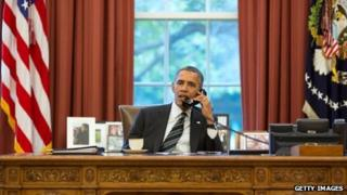 President Barack Obama speaks to Iranian President Hassan Rouhani on the telephone (27 Sept 2013)