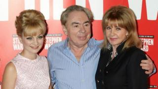 Andrew Lloyd Webber (centre) with Mandy Rice-Davies (right) and Charlotte Blackledge (left), who plays Mandy Rice-Davies in the musical, Stephen Ward