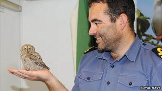 Lt Chris Patrick with owl