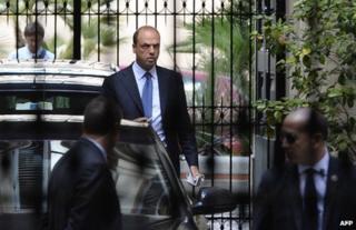 """Angelino Alfano leaves Silvio Berlusconi""""s private residence in Rome, 1 October"""