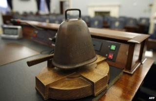 The Speaker's bell is pictured on the head desk in the Irish Republic's Seanad chamber, 2 October
