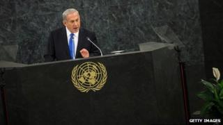 Benjamin Netanyahu making speech at UN