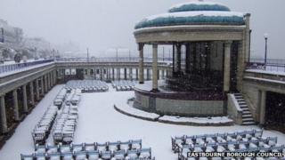 Eastbourne bandstand in the snow