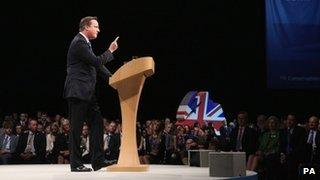 David Cameron addressing the Conservative Party conference