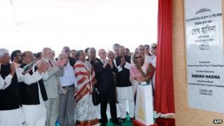 Bangladesh Prime Minister Sheikh Hasina inaugurates the opening phase of the 2,000 megawatt nuclear power plant in Pabna