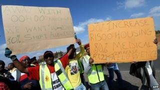 South Africa workers on strike