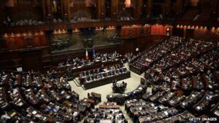 Interior view of the Italian parliament building