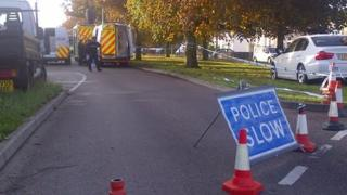 Part of North Avenue has been cordoned off and a decontamination tent set up