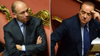 "A combination of two pictures taken at the Senate in Rome on October 2, 2013 shows Italy's"" Prime Minister Enrico Letta (L) and former Prime Minister and leader of Forza Italia, Silvio Berlusconi before today""s confidence vote at the Parliament."
