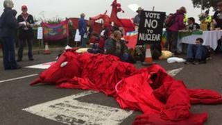 Welsh Dragon AWE protestors