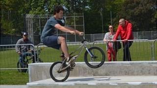 BMX rider at Guernsey's skate park