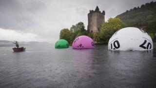 Lotto balls on Loch Ness