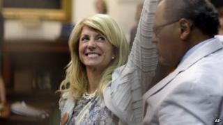 Sen Wendy Davis celebrates her successful filibuster of a Republican anti-abortion bill in Austin, Texas, on 26 June 2013