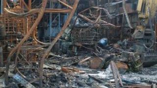 Aftermath of chemical blaze in Burscough