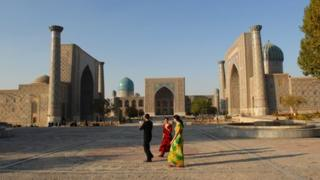 The Registan, an ensemble of medieval madrassas in Samarkand, Uzbekistan (November 2007)