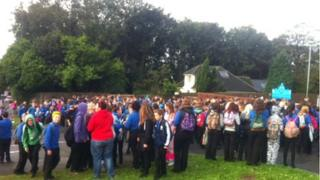 The protest outside Milford Haven School