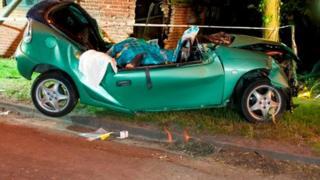 Wreckage of car after crash