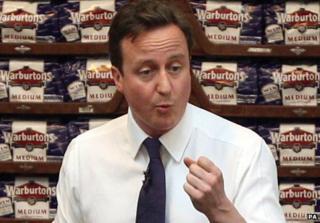 David Cameron in a bread factory
