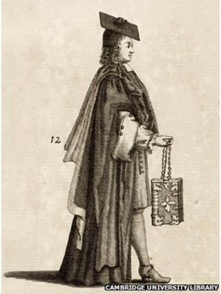 A proctor carrying the university statutes, from Cantabrigia Illustrata, 1690