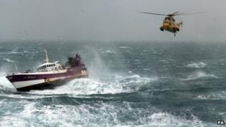 A sea rescue in a Force 8 gale for which Sgt Rachael Robinson received the QGM (Queen's Gallantry Medal)