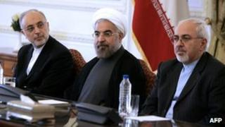 Foreign Minister Javad Zarif (right) ; President Hassan Rouhani (centre); Iran's Atomic Energy agency chief Ali Akbar Salehi