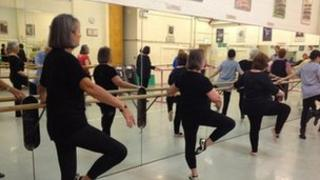 Residents taking part in a ballet workshop