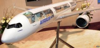 Model of Airbus A350 plane on display