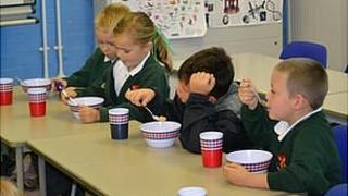 Amherst Primary School pupils at breakfast club